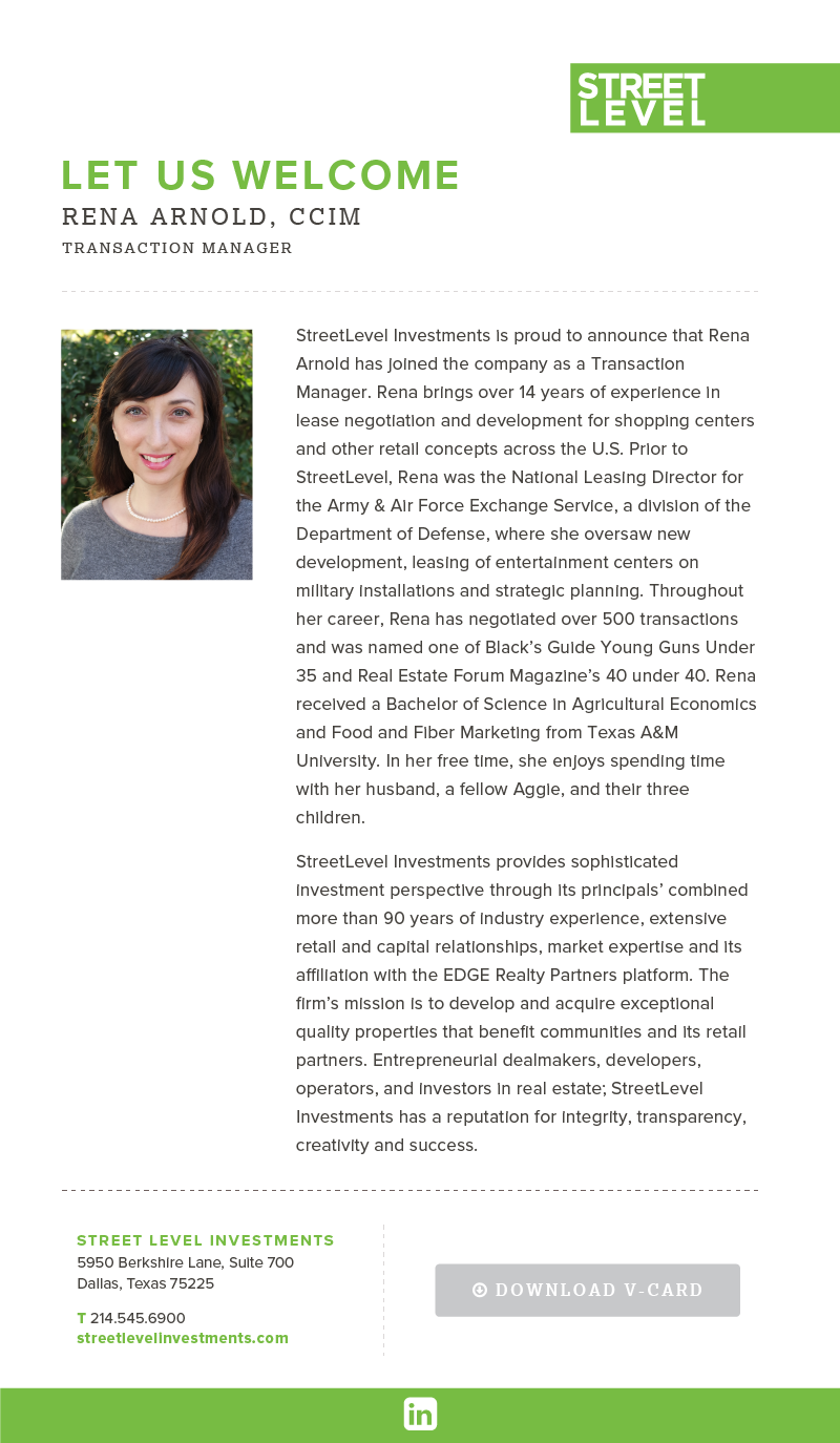 StreetLevel Investments Welcomes Rena Arnold